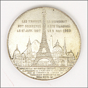 French Eiffel Tower 1889 Commemorative Silvered Copper Medal