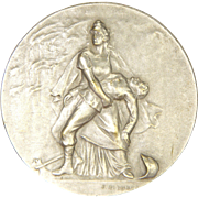 French Fire Fighter Allegorical Silver Bronze Medal - F RASUMNY