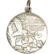 French Grasshopper and Ant Allegorical Silvered Bronze Medal - JEAN VERNON