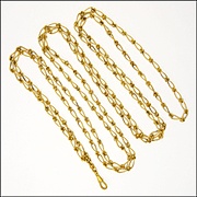French 18K Gold Plated Guard Chain - 56""
