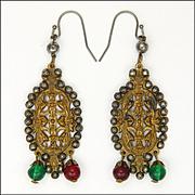 Victorian Possibly French Cut Steel on Brass Drop Earrings - Pierced Ears