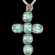 European Aquamarine Pastes Silver Cross and Chain