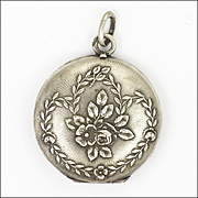 French Antique Silver Flower Garland Small Locket