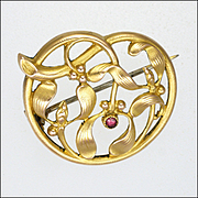 French Art Nouveau Gold Filled Mistletoe Garnet Pin