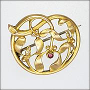 French Art Nouveau Gold Filled Mistletoe Garnet Pin