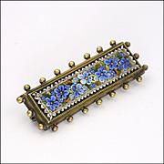 Victorian Italian Micro-Mosaic Forgetmenot Pin