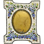 Antique Italian Forgetmenot Micro-Mosaic Standing Frame