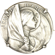 French Circa 1900 Silver Joan of Arc Pin