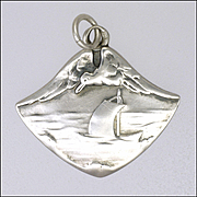 Art Nouveau or Jugendstil 800 Silver Seascape with Seagull Pendant
