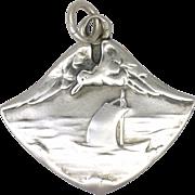 Art Nouveau or Jugendstil 800 Silver Seascape with Seagull Pendant