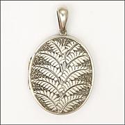 Victorian Silver Engraved Ferns Locket