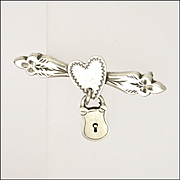 Victorian Silver Heart and Padlock Engraved Pin