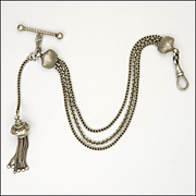English Victorian Sterling Silver Albertina Bracelet with Shells and Tassel - 20.4 grams