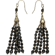 Victorian Cut Steel and French Jet Tassel Earrings - Pierced Ears