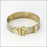 Victorian English Sterling Silver Buckle Ring - Man Sized