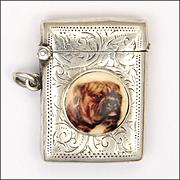 English 1902 Edwardian Sterling Silver and Enamel Bulldog Vesta or Match Safe