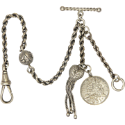 """Victorian Sterling Silver Heart Tassel Albertina with Sixpence Coin - 7"""" -9.1 grams"""