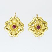 Antique Art Nouveau 18K Gold and Ruby Flower Earrings - Pierced Ears