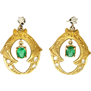 Victorian 18K Gold, Emerald and Diamond Chip Earrings with Newer White Sapphire Posts