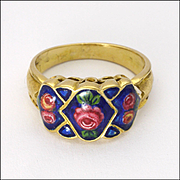 Antique 18 Carat Gold Enamel Roses Ring - possibly Italian