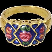 Antique 18 Carat Gold Enamel Roses Ring - possibly Italian