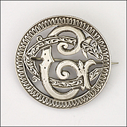 Victorian 1885 Sterling Silver Monogram Coin Pin