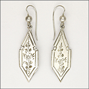 Victorian Sterling Silver Gothic Style Engraved Earrings