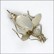 Victorian European Silver Moonstone Bug Pin