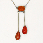 Edwardian European Silver and Carnelian Agate Negligée Necklace