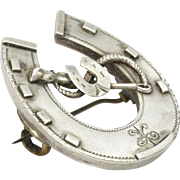Victorian 1889 Sterling Silver Lucky Horseshoe Pin