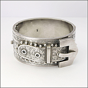Victorian English 1882 Silver Buckle Bangle