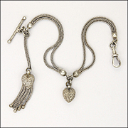 Victorian Sterling Silver Albertina Bracelet with Hearts and Tassel - 10.8 grams