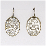 Victorian Silver Floral Earrings - Pierced Ears