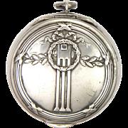 Art Nouveau German Jugendstil 800 Silver Compact Pendant