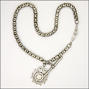 Late Victorian/ Edwardian Fittings Silver Watch Chain with Fob