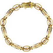 English Edwardian 9 Carat Gold Engraved and Pierced Bracelet