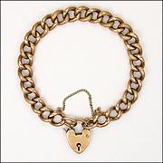 Victorian 9 Carat 'Night & Day' Curb Bracelet - Heart Padlock Clasp - 16.9 grams