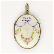 European Antique 800 Silver and Enamel Roses Locket