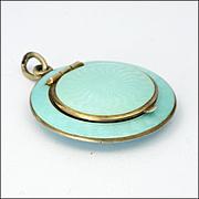 Art Deco 935 Silver Enamel Compact Pendant