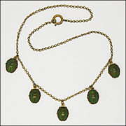 Victorian Egyptian Revival Real Scarab Bug Necklace
