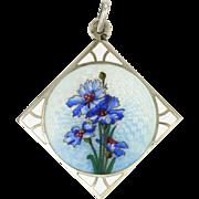Austrian Deco 800 Silver Enamel Flower Pendant