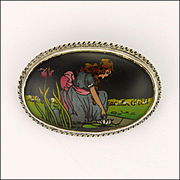 English Art Deco Painted Lady in Garden on Sterling Silver