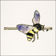 English Art Deco Sterling Silver Enamel Bee Pin