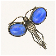 English Art Deco Small Silver Butterfly Wing Dragonfly Pin