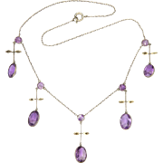 French Antique 800 Silver Amethyst Drop Necklace