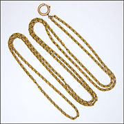 "French Antique 'Pomponne' Guard Chain  - 55"" long"