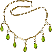 French Edwardian Costume Necklace with Peridot Pastes