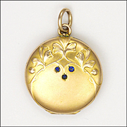 French Art Nouveau Ginko Leaves Gold Filled Locket