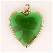 French 18K Gold and Four Leaf Clover Heart Pendant