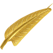 French 18K Gold Leaf Pin